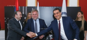 Armenian Ombudsman Arman Tatoyan, Minister of Education and Science Levon Mkrtchyan and Kaspersky Lab's CEO Evgeny Kaspersky signed a memorandum of cooperation