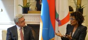 In Paris Armenian President Serzh Sargsyan met with Secretary General of the International Organization of Francophonie Michaelle Jean