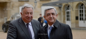 Meeting of Armenian President Serzh Sargsyan and President of the Senate of France Gérard Larcher in Paris