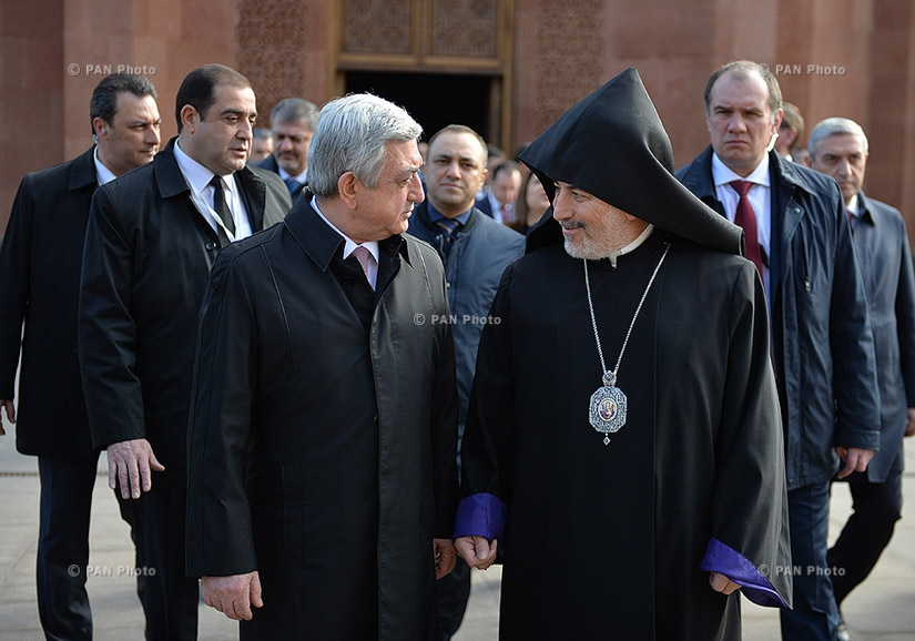 In Moscow Armenian President Serzh Sargsyan visited Moscow and New Nakhijevan Diocese of Armenian Apostolic Church and Monument of the Unknown Soldier