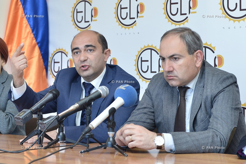 Press conference of MPs from YELQ (Exit) alliance Nikol Pashinyan and Edmon Marukyan