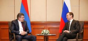 Armenian Premier Karen Karapetyan meets with RF Premier Dmitry Medvedev during hisworking visit to Kyrgyz Republic