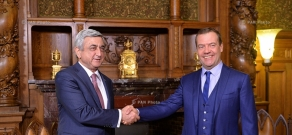 In framework of his official visit to Russia, Armenian President Serzh Sargsyan met with Chairman of Russian Government Dmitry Medvedev