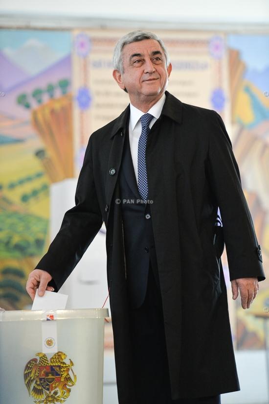 President Serzh Sargsyan cast a ballot