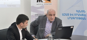 Yerevan Press Club chairman Boris Navasardyan presents results of monitoring of 2017 National Assembly elections coverage in broadcast media