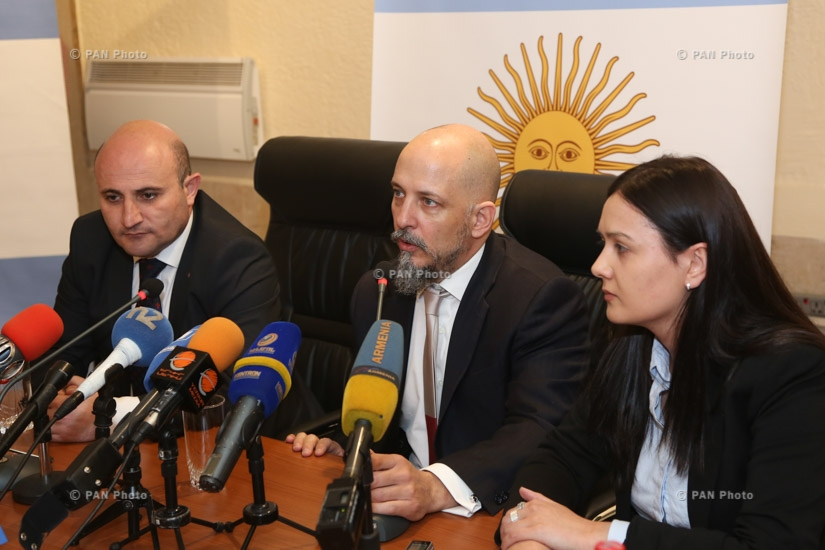 Press conference of ambassador of Argentina in Armenia Gonzalo Urriolabeitia and  First Deputy Director of Armenia's State Tourism Committee Mekhak Apresyan