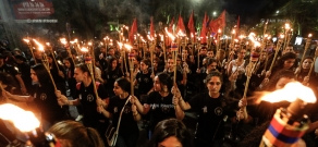 Torchlight procession commemorating 102nd anniversary of Armenian Genocide