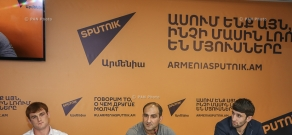 Press conference of members of Armenian national freestyle wrestling team