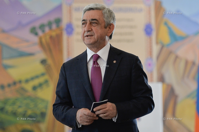 Elections to the Yerevan City Council: Prseident Serzh Sargsyan votes