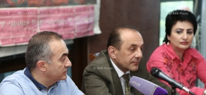Press conference of former Deputy of National Assembly of Armenia Tevan Poghosyan and political scientist Ruben Mehrabyan