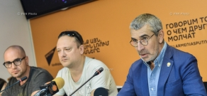 Press conference by soloist of D'Black Blues Orchestra, Russian businessman Vladimir Avetisyan