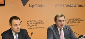 Press conference by Director of Financial Policy Department of Eurasian Economic Commission (EEC) Tigran Davtyan and Deputy Finance minister of Armenia David Ananyan