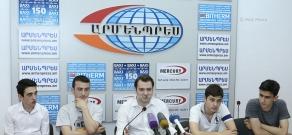 Пресс-конференция Микаэля Андриасяна, Артура Давтяна, Армана Микаеляна, Арама Акопяна и Айка Мартиросяна,  посвященная участию Армении в индивидуальном чемпионате Европы по шахматам