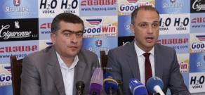 Press conference of members of Yerevan's municipal counci from  opposition party  'Yerkir Tsirani' Mnatsakan Parakshiev and Hayk Petrosyan