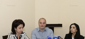 Press conference of members of Yerevan's municipal counci from opposition party 'Yerkir Tsirani' Sona Aghekyan, Karapen Aghajanyan and Marina Khachatryan
