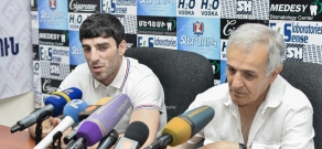 Press conference of head coach for the Armenia boxing team Davit Torosyan and European boxing champion Hovhannes Bachkov