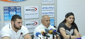 Press conference of head coach of Armenia's weightlifting team Pashik Alaverdyan, World Junior Champion Simon Martirosyan and women's IWF World Junior Championships bronze medalist Sona Poghosyan