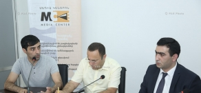 Lawyers Ara Gharagyozyan, Tigran Hayrapetyan and Martik Martirosyan give a press conference on the subject