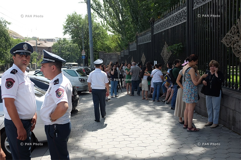 S.O.S. Sevan initiative protests in front of the National Assembly against a government proposal to release 100 million cubic meters  of water from Lake Sevan