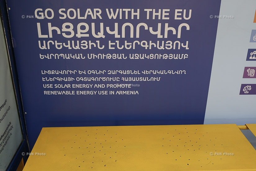 Briefing about the first solar-powered bus stops in Yerevan