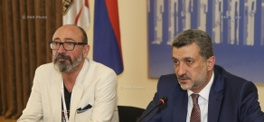 Press conference of Yerevan Deputy Mayor Aram Sukiasyan and general director of
