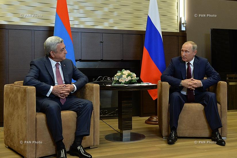 Armenian President Serzh Sargsyan met with Russian President Vladimir Putin in Sochi