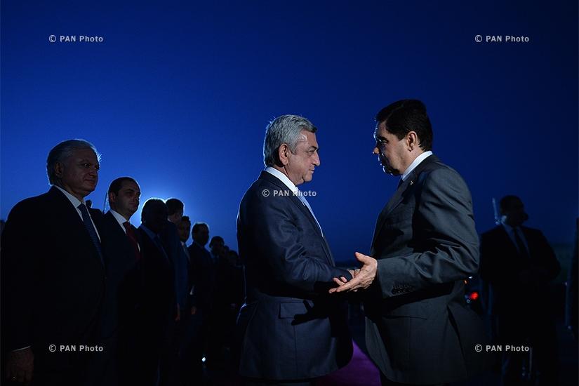 Թուրքմենստանի նախագահ Գուրբանգուլի Բերդիմուհամեդովի ճանապարհման պաշտոնական արարողությունը  «Զվարթնոց» օդանավակայանում