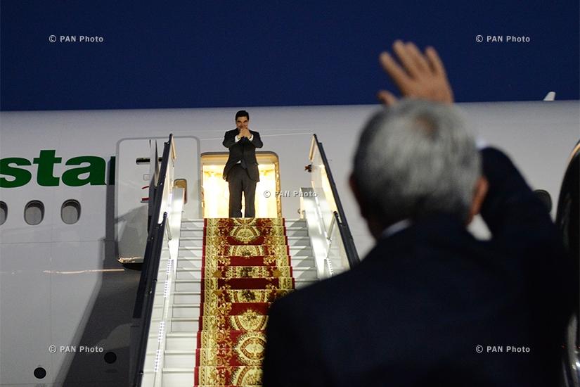 Official farewell ceremony of  President of Turkmenistan Gurbanguly Berdimuhamedow at Zvartnots Airport