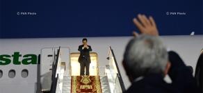 Церемония прощания с президентом Туркменистана Гурбангулым Бердымухамедовым в аэропорте «Звартноц»