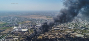 The fire at the territory of the chemical plant Nairit