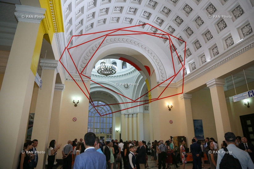 Swiss artist Felice Varini's collection Hextones, circles and tables opens at STANDART Triennial of Contemporary Art at Yerevan railway station
