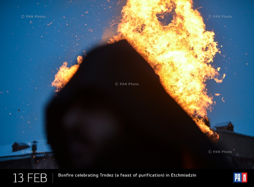Bonfire celebrating Trndez (a feast of purification) in Etchmiadzin