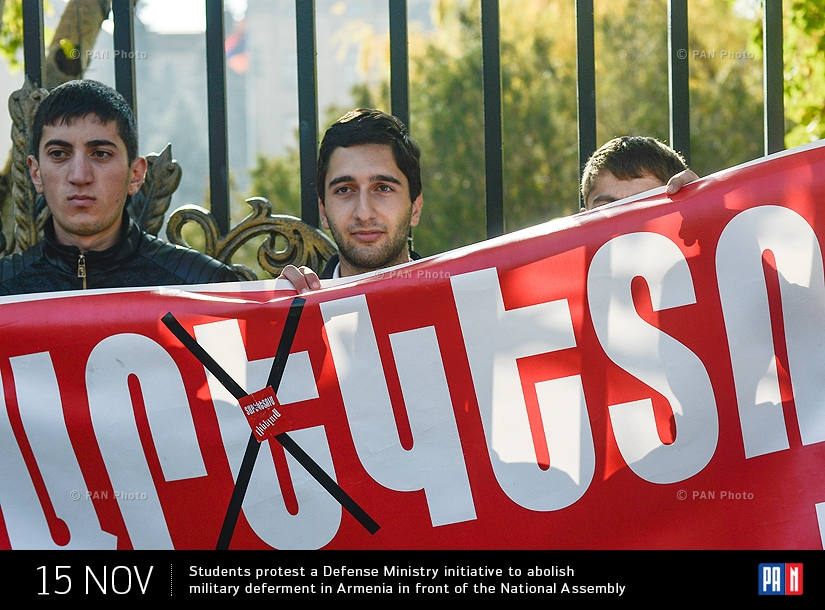 Students protest a Defense Ministry initiative to abolish military deferment in Armenia in front of the National Assembly
