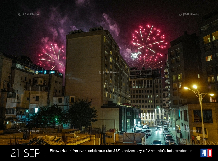 Fireworks in Yerevan celebrate the 26th anniversary of Armenia's independence