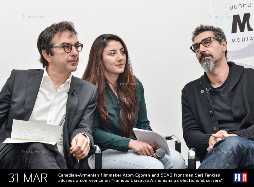 "Canadian-Armenian filmmaker Atom Egoyan and SOAD frontman Serj Tankian address a conference on ""Famous Diaspora Armenians as elections observers"""