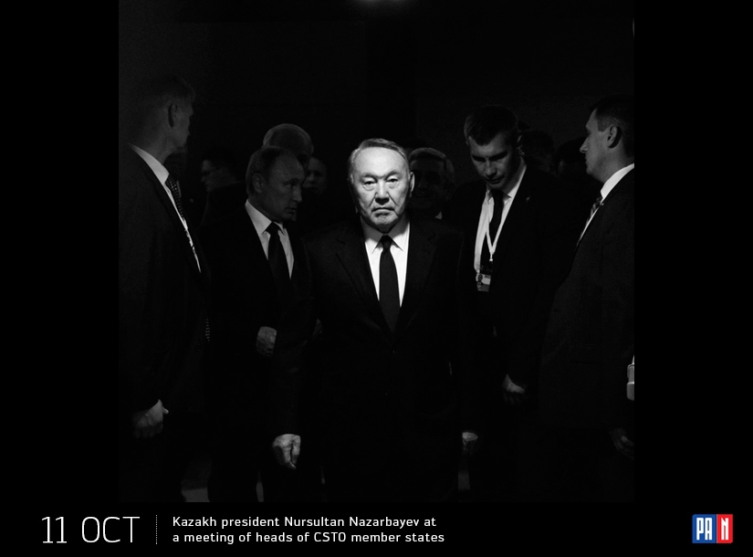 Kazakh president Nursultan Nazarbayev at a meeting of heads of CSTO member states