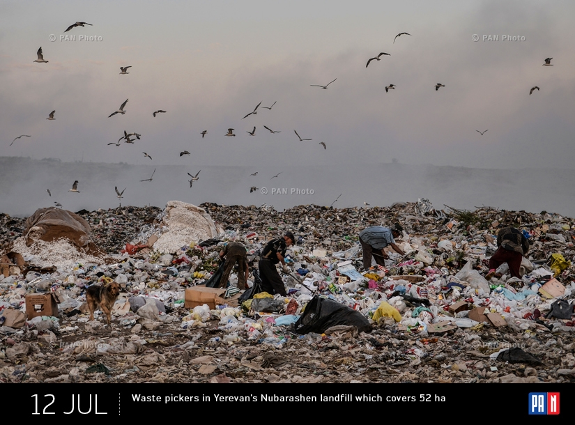 Waste pickers in Yerevan's Nubarashen landfill which covers 52 ha