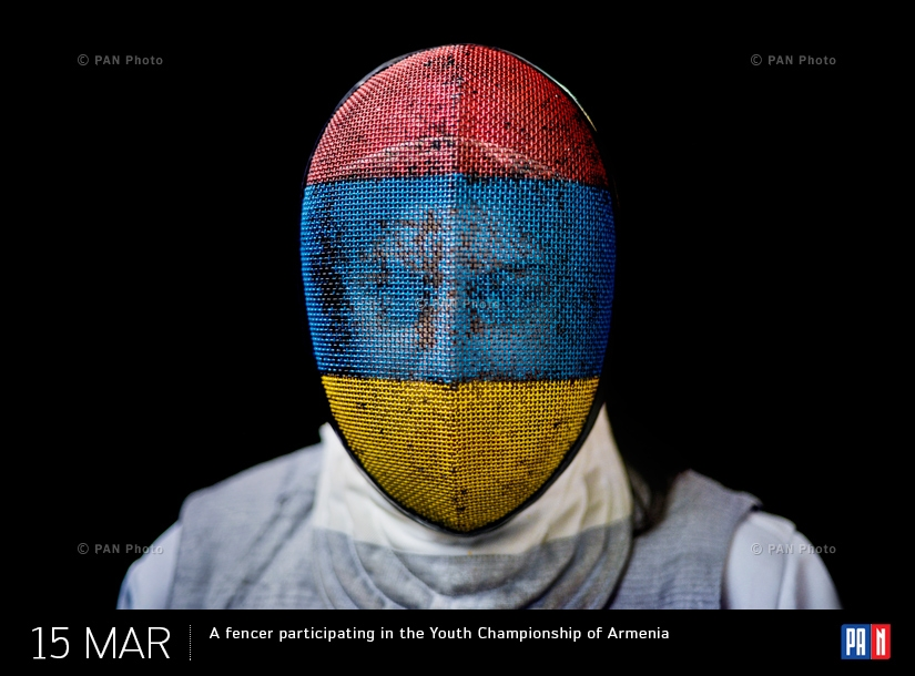 A fencer participating in the Youth Championship of Armenia