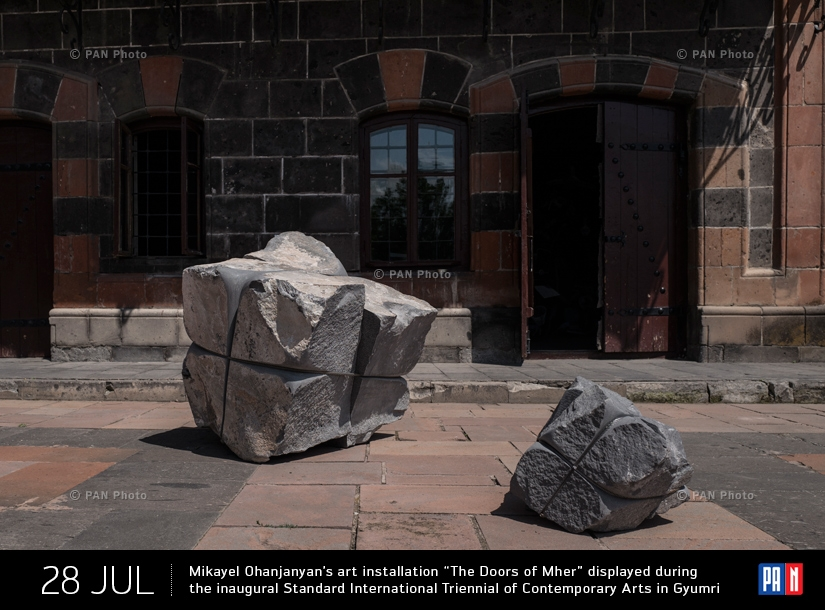 "Mikayel Ohanjanyan's art installation ""The Doors of Mher"" displayed during the inaugural Standard International Triennial of Contemporary Arts in Gyumri"