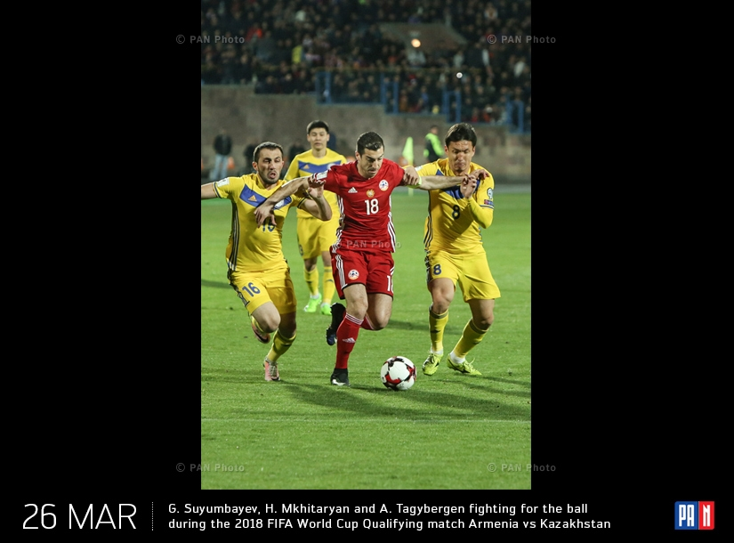 G. Suyumbayev, H. Mkhitaryan and A. Tagybergen fighting for the ball during the 2018 FIFA World Cup Qualifying match Armenia vs Kazakhstan