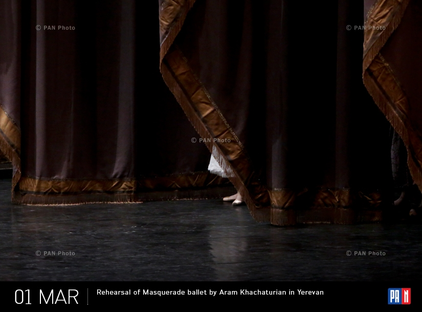 Репетиция балета Арама Хачатуряна «Маскарад» в Ереване