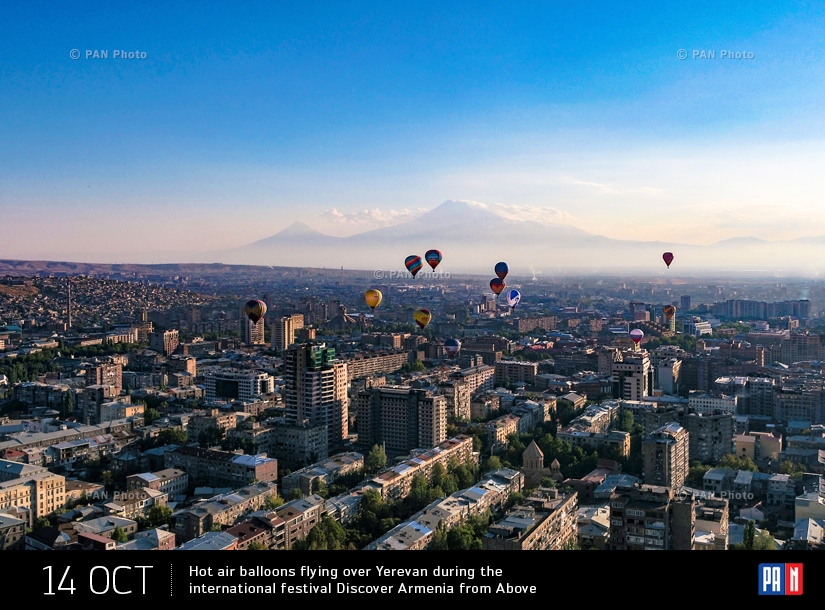 Hot air balloons flying over Yerevan during the international festival Discover Armenia from Above