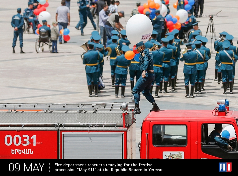 "Fire department rescuers readying for the festive procession ""May 911"" at the Republic Square in Yerevan"