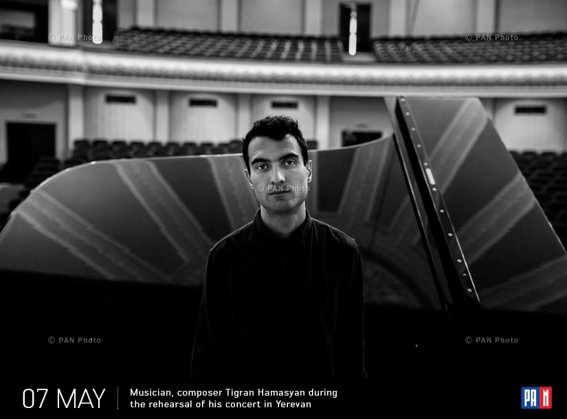 Musician, composer Tigran Hamasyan during the rehearsal of his concert in Yerevan