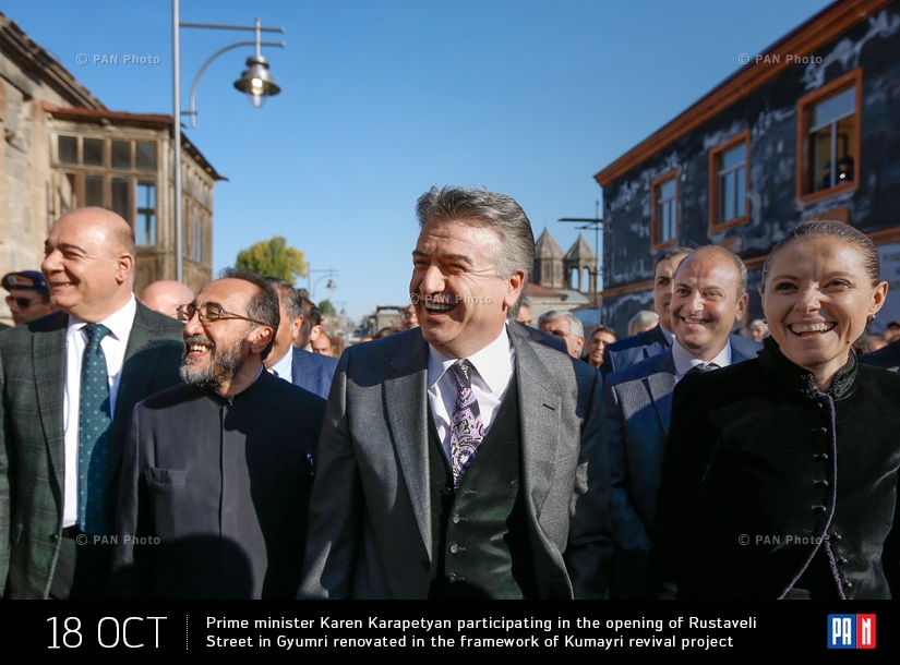 Prime minister Karen Karapetyan participating in the opening of Rustaveli Street in Gyumri renovated in the framework of Kumayri revival project