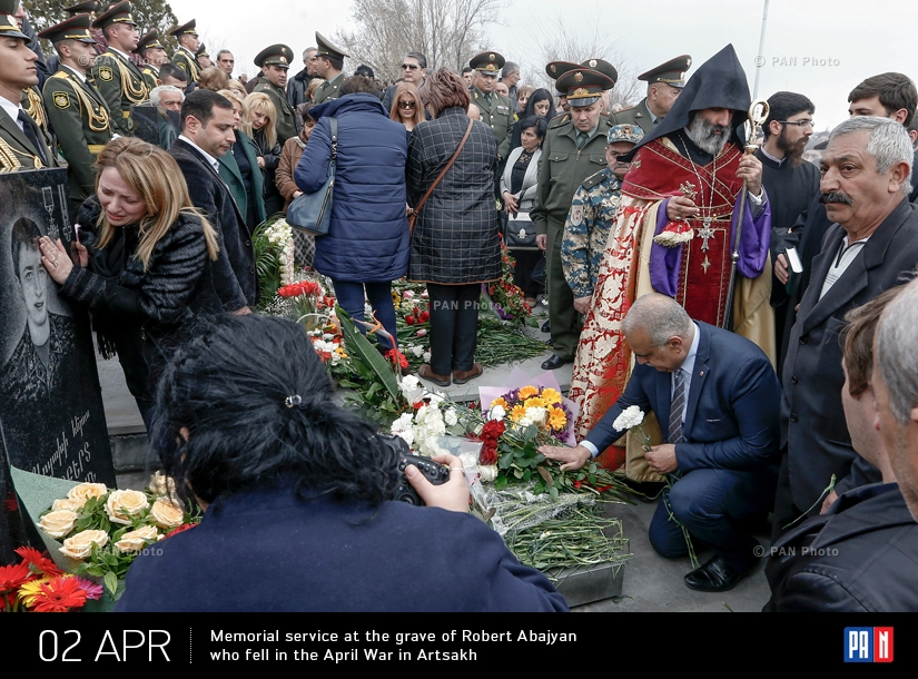 Memorial service at the grave of Robert Abajyan who fell in the April War in Artsakh