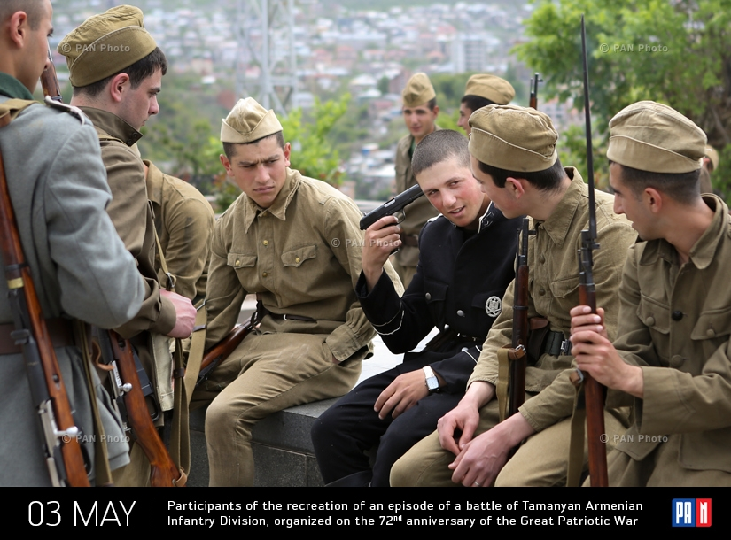 Participants of the recreation of an episode of a battle of Tamanyan Armenian Infantry Division, organized on the 72nd anniversary of the Great Patriotic War