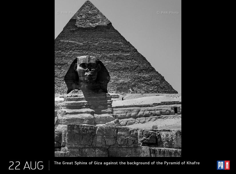 The Great Sphinx of Giza against the background of the Pyramid of Khafre, Egypt