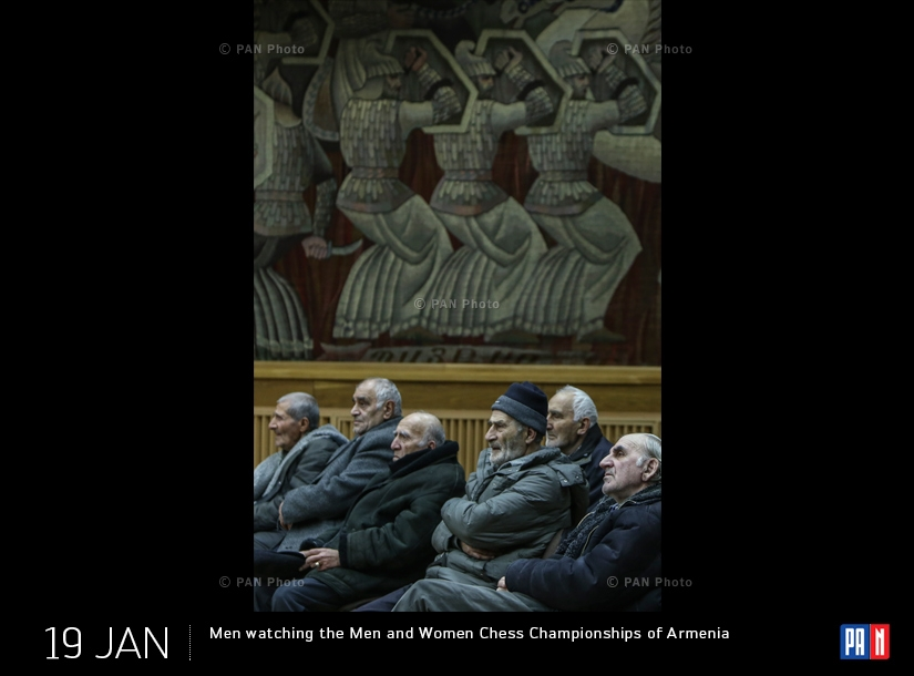 Men watching the Men and Women Chess Championships of Armenia