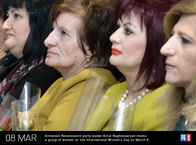 Armenian Renaissance party leader Artur Baghdasaryan meets a group of women on the International Women's Day on March 8